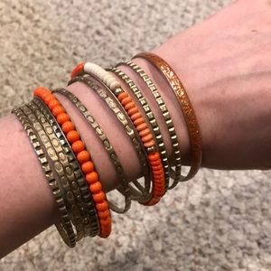 Gold and Orange Bracelets